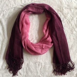 Accessories - Ombré Pink to Maroon Lightweight Scarf